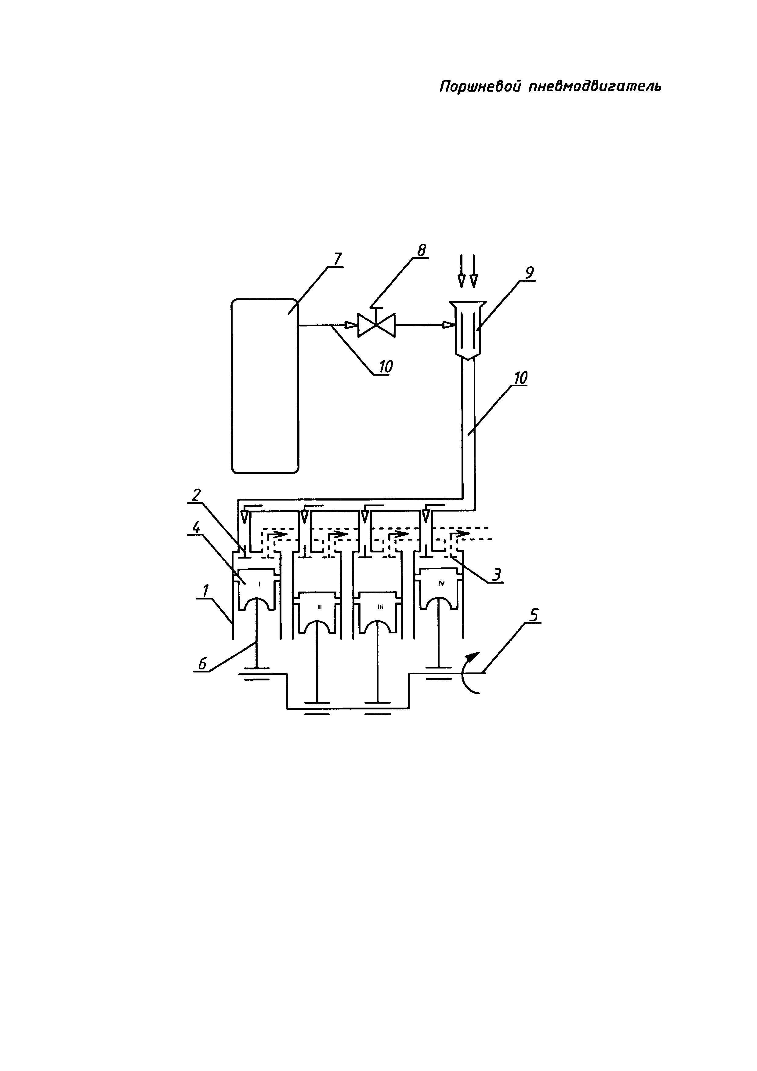 Поршневой пневмодвигатель
