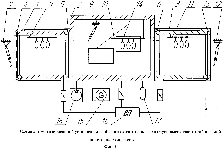 Автоматизированное устройство проходного типа для плазменной обработки заготовок верха обуви