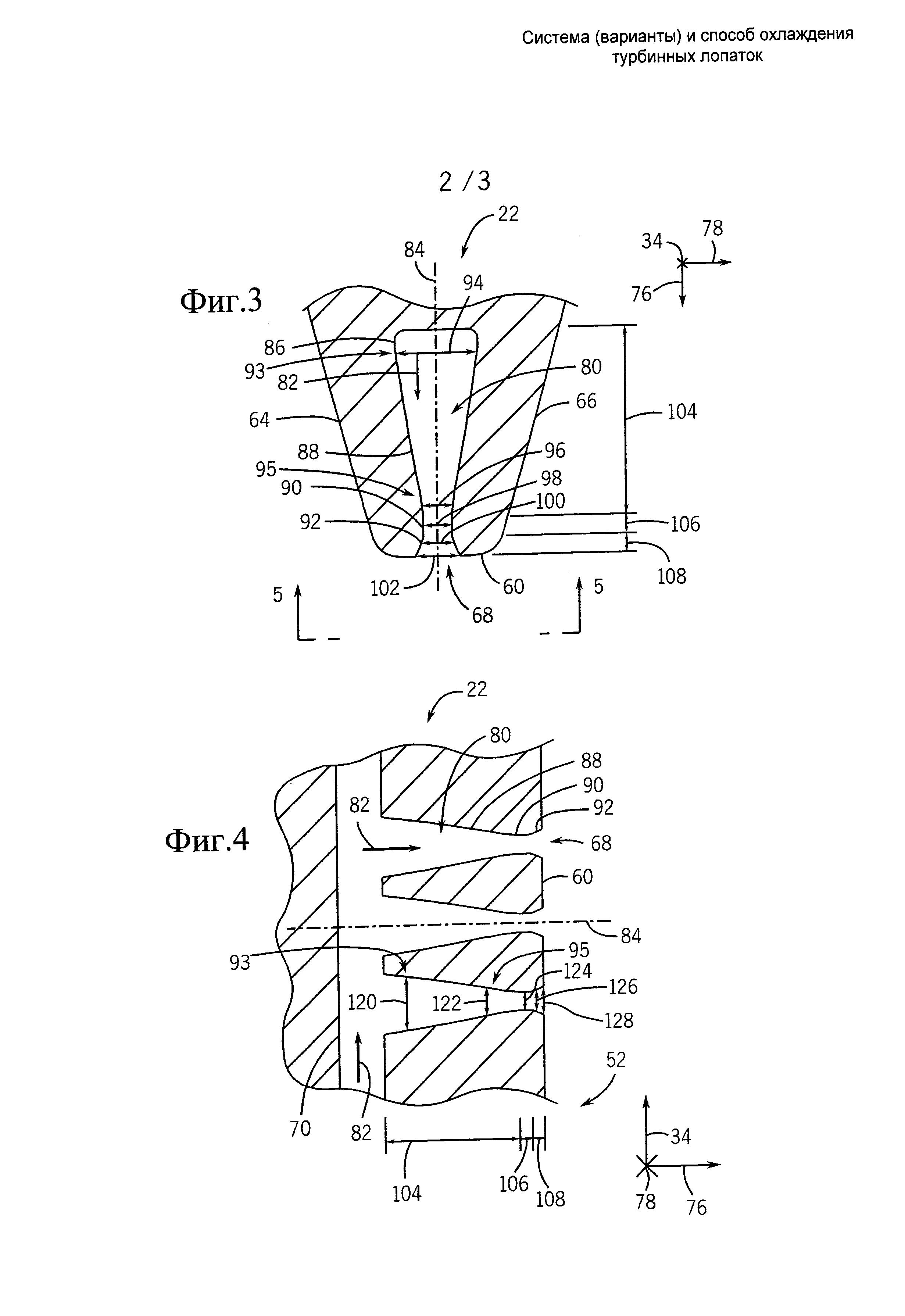 Система (варианты) и способ охлаждения турбинных лопаток