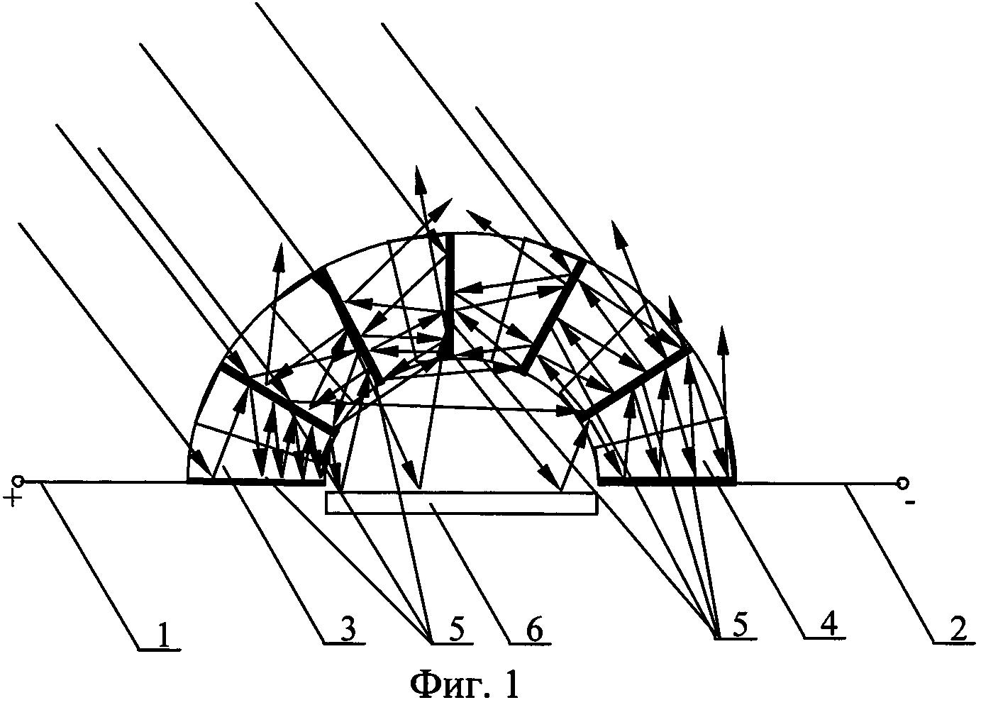 Концентратор лучей для солнечной батареи с веерным расположением зеркальных отражающих электродов