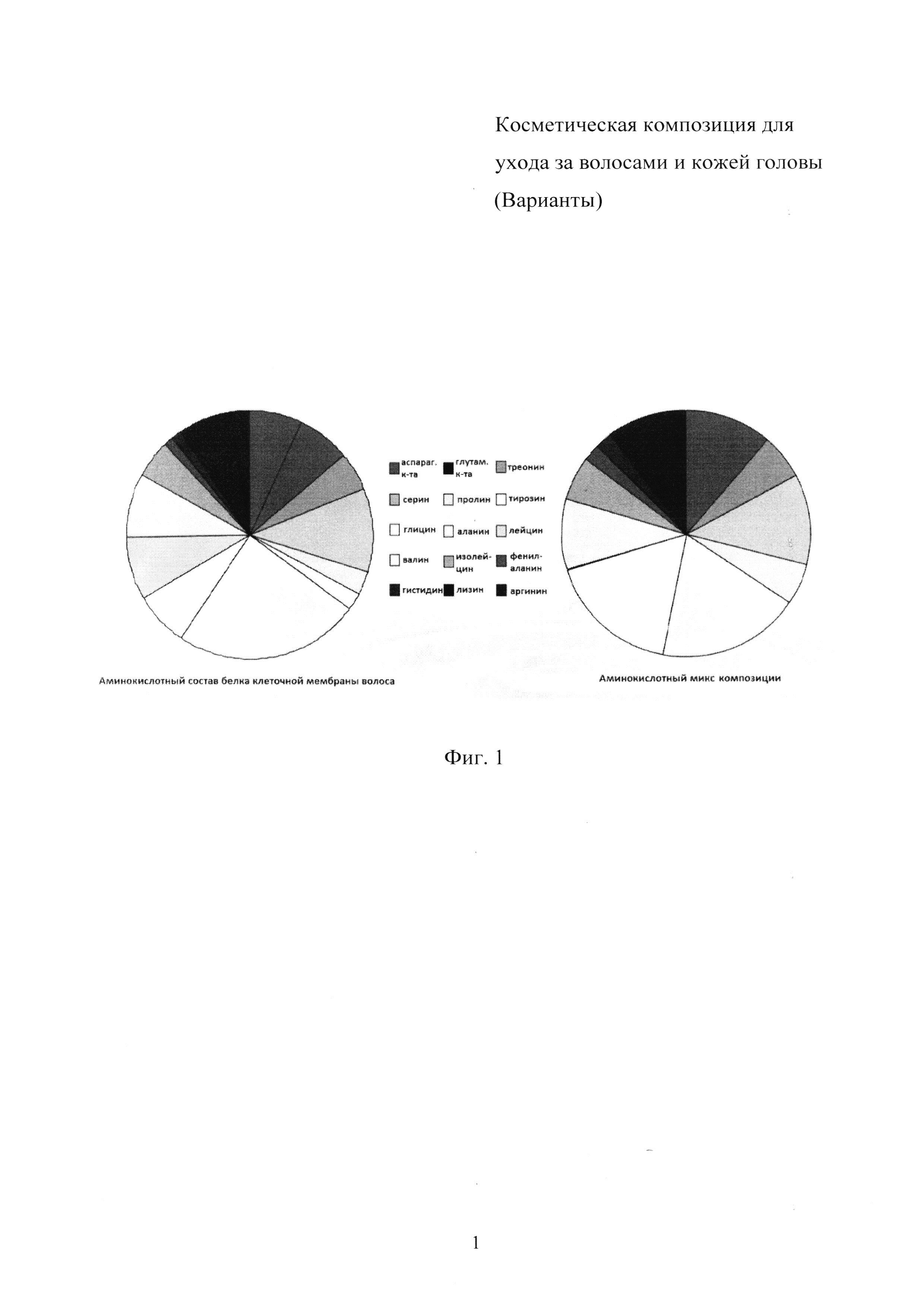 Косметическая композиция для ухода за волосами и кожей головы (варианты)