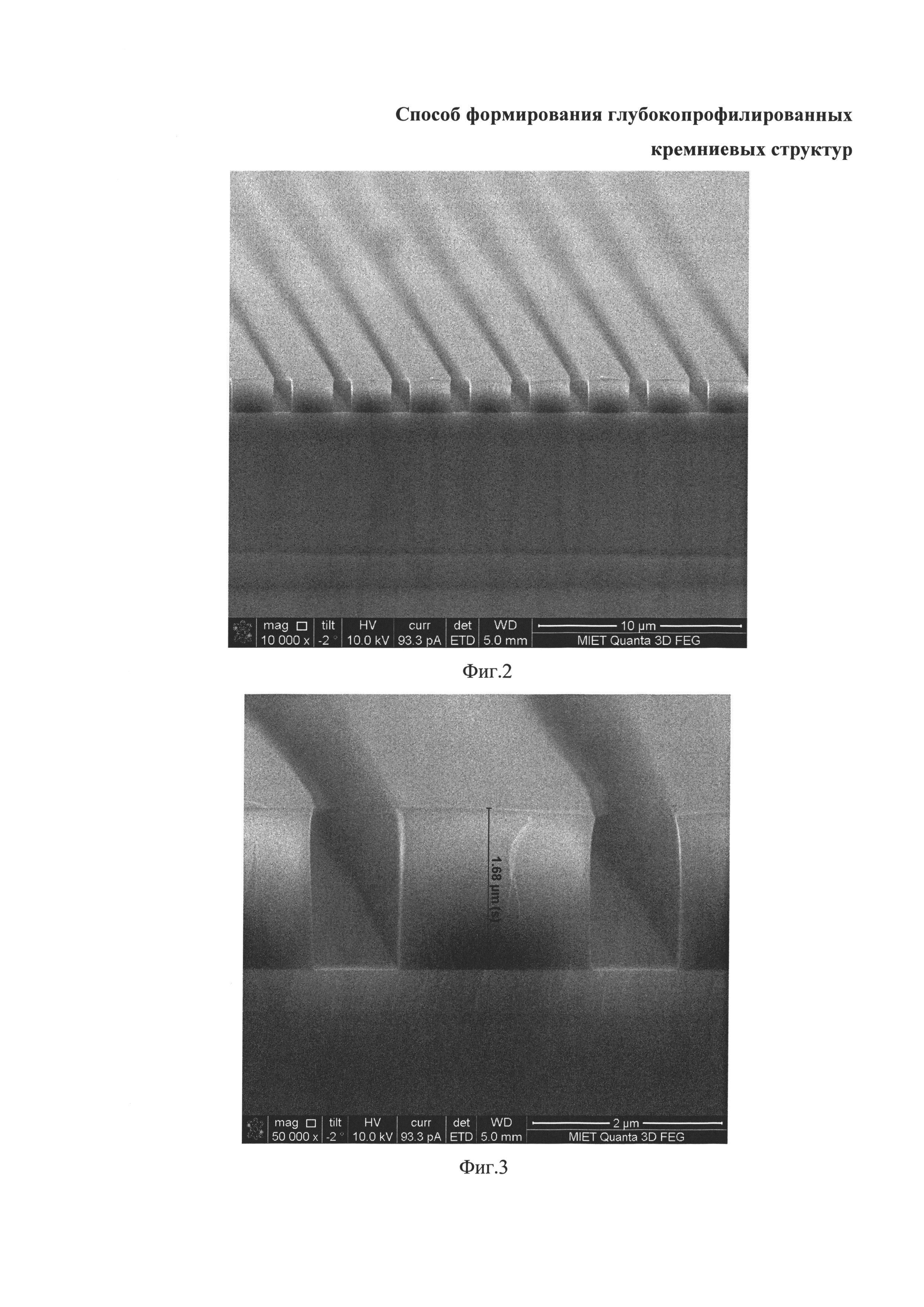 Способ формирования глубокопрофилированных кремниевых структур
