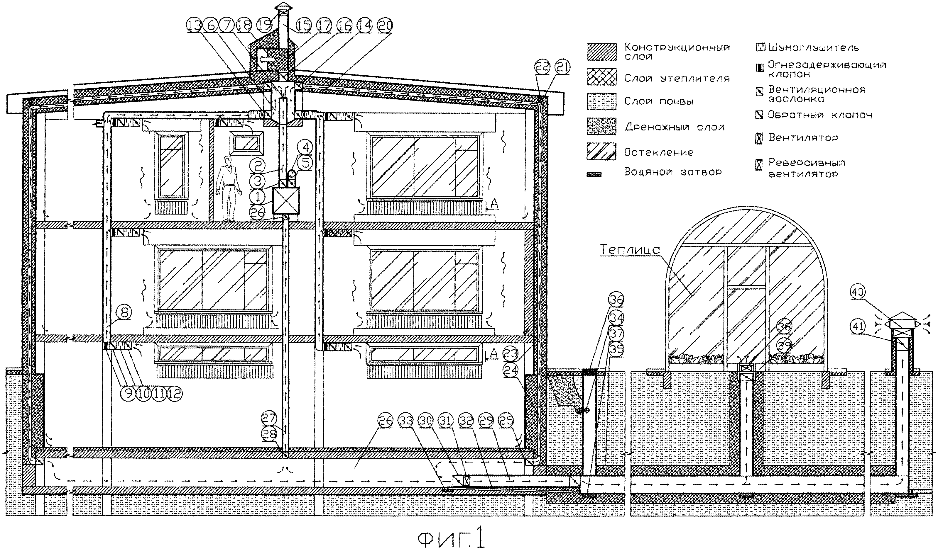 Энергоэффективное отапливаемое здание с теплицей