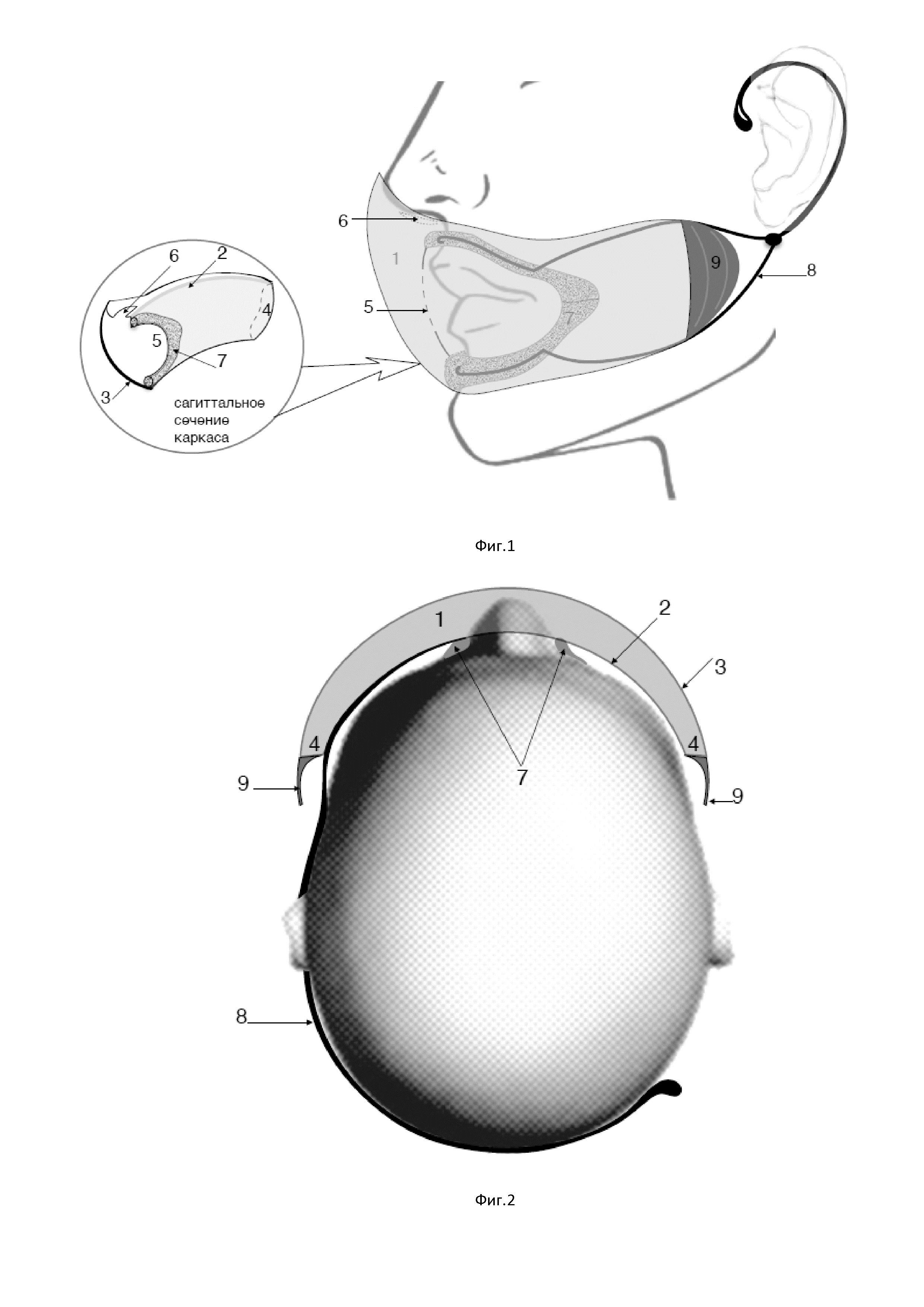 Медицинская маска каркасная барьерно-отводящего типа с опорой