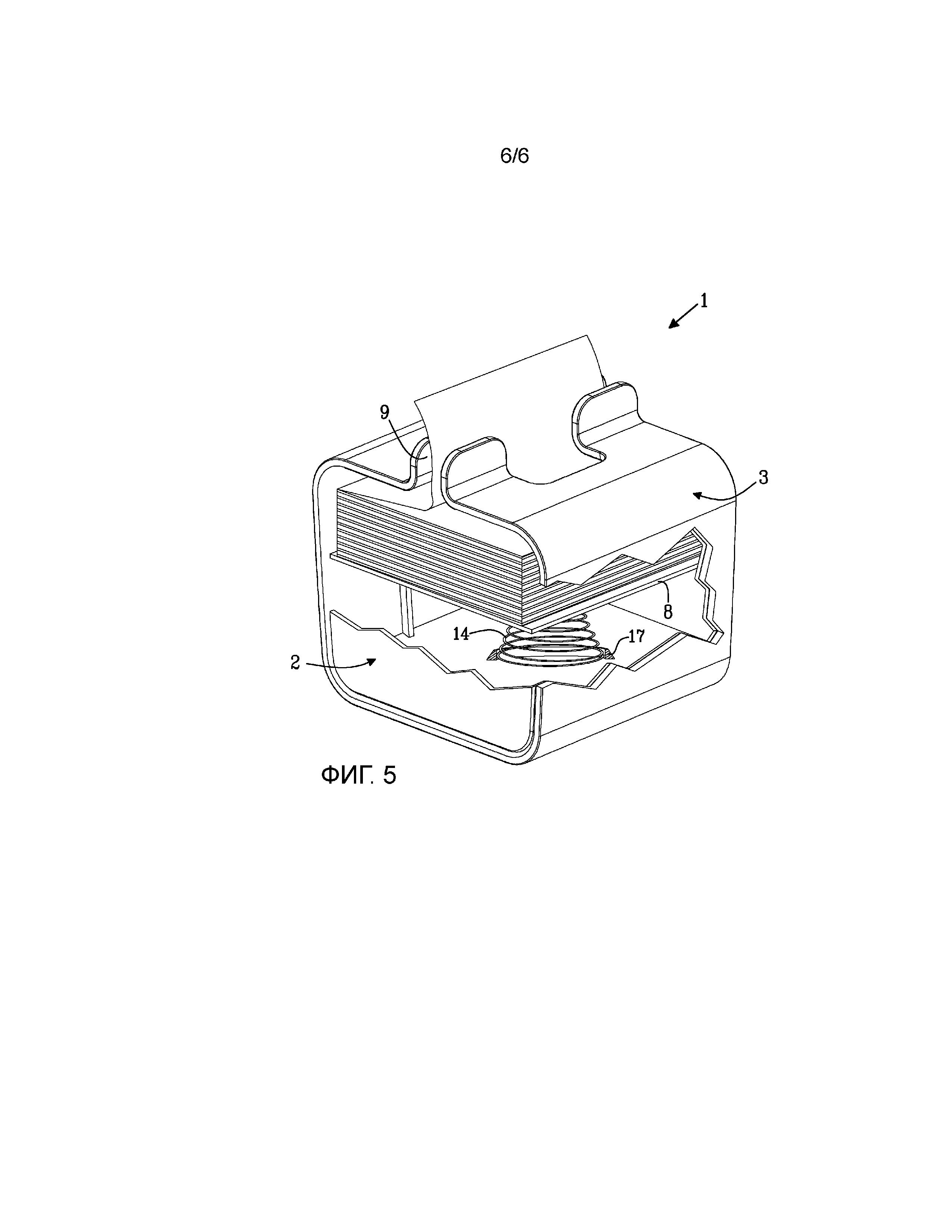 Выдачное устройство для сложенных салфеток