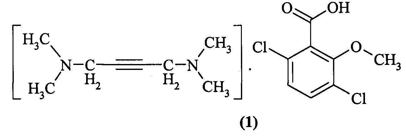Соль n,n,n,n-тетраметил-2-бутин-1,4-диамина с 2-метокси-3,6-дихлоробензоатом, проявляющая гербицидную активность, и способ ее получения
