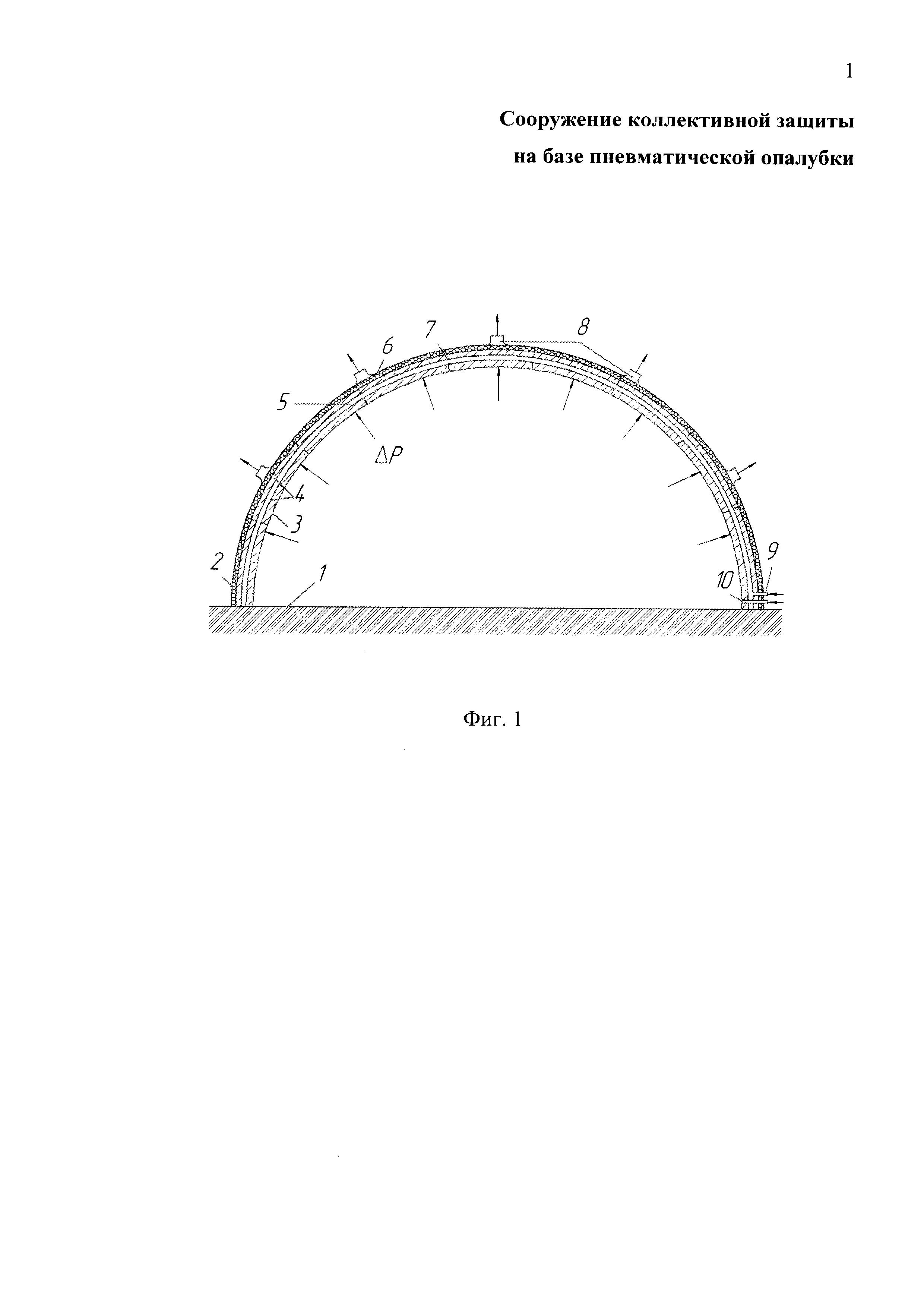 Сооружение коллективной защиты на базе пневматической опалубки