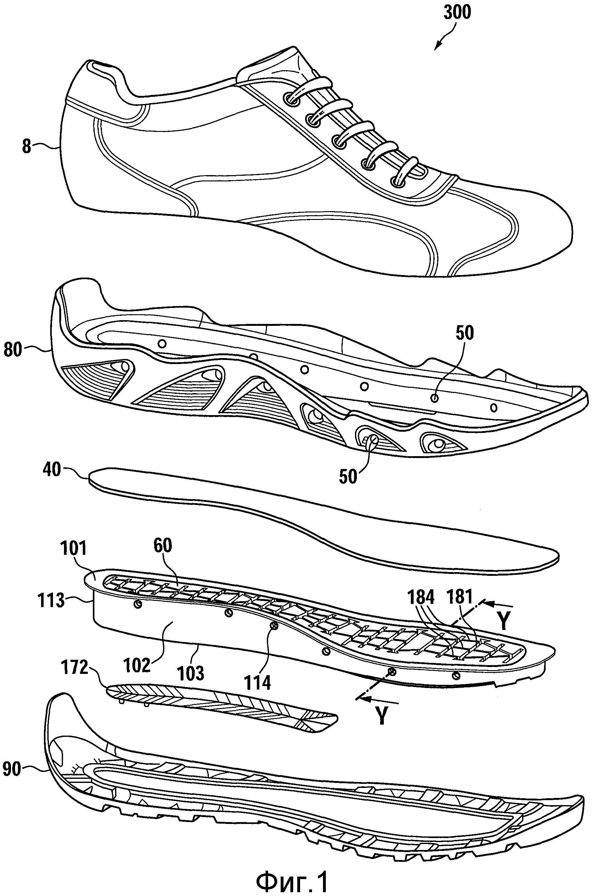 Предмет обуви, скомпонованный блок подошвы для предмета обуви, способ изготовления скомпонованного блока подошвы и способ изготовления предмета обуви