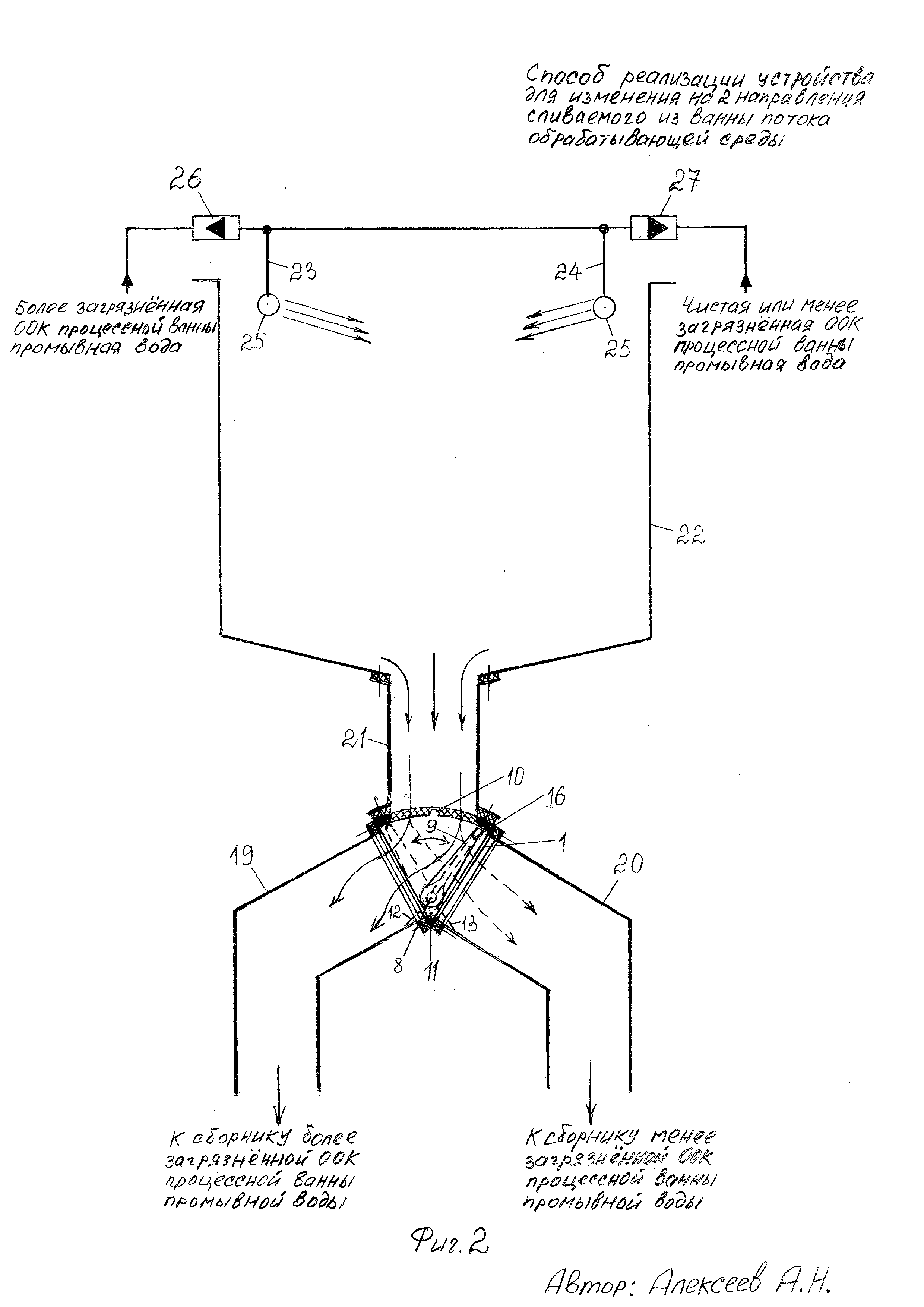 Устройство для изменения на два направления сливаемого из ванны потока обрабатывающей среды