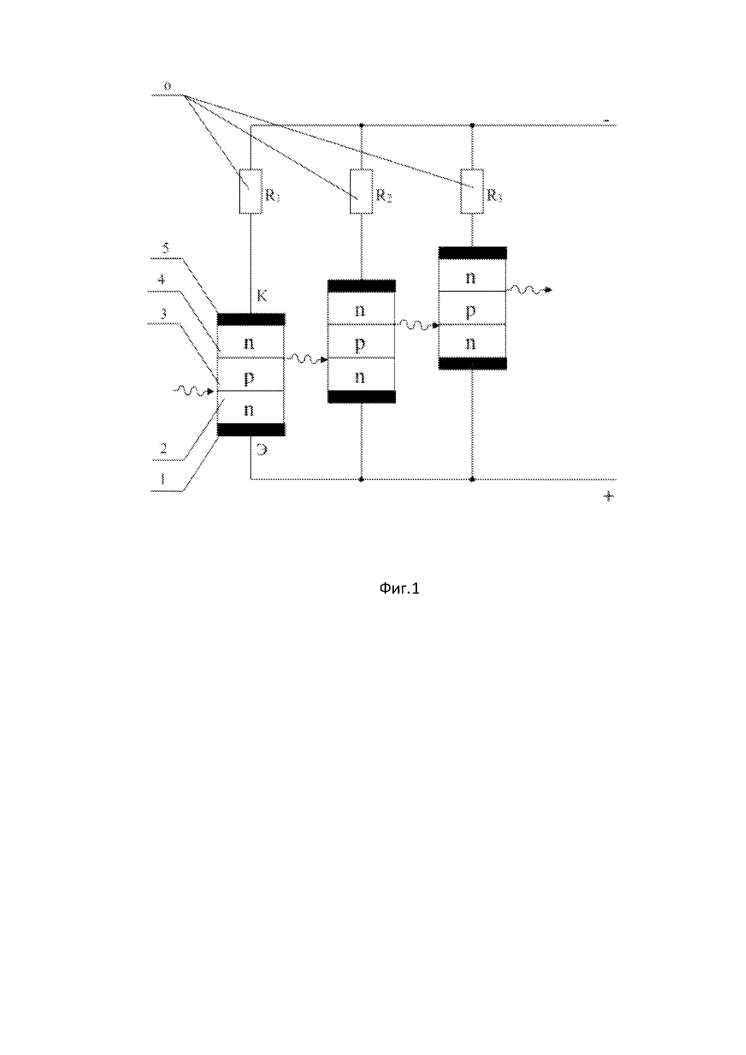 Фотоприемное устройство на каскадных транзисторах со светоизлучающими p-n-переходами и фоточувствительными n-p-переходами