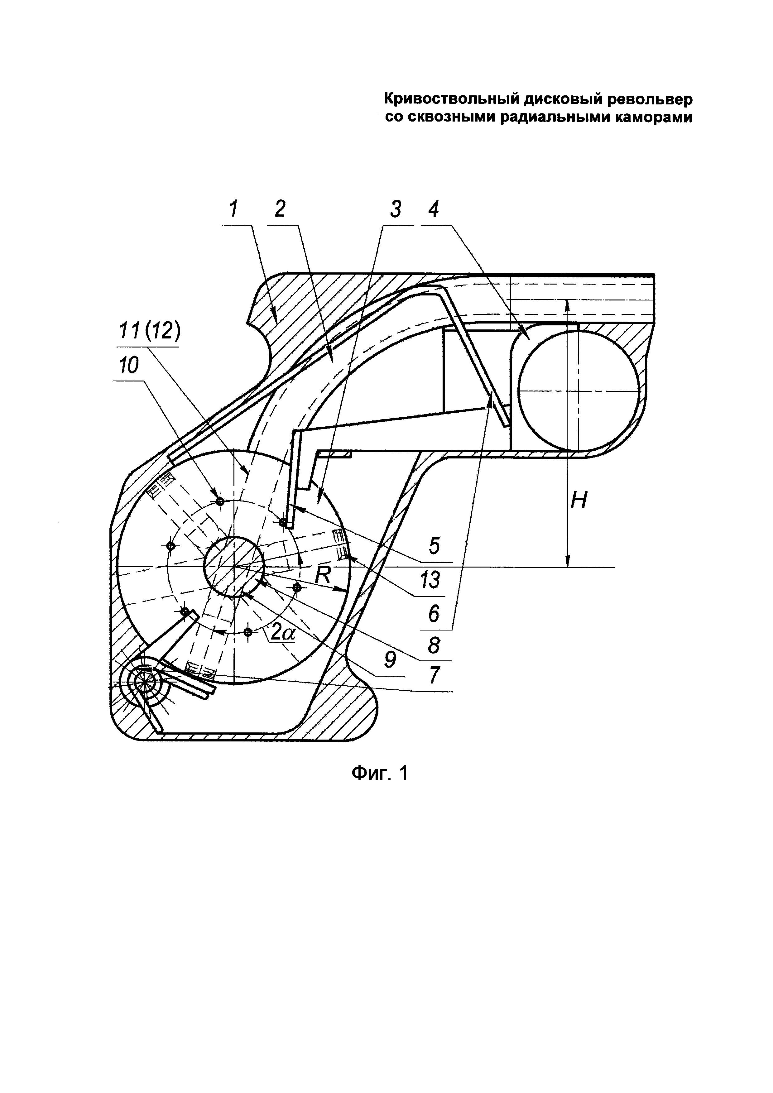 Кривоствольный дисковый револьвер со сквозными радиальными каморами