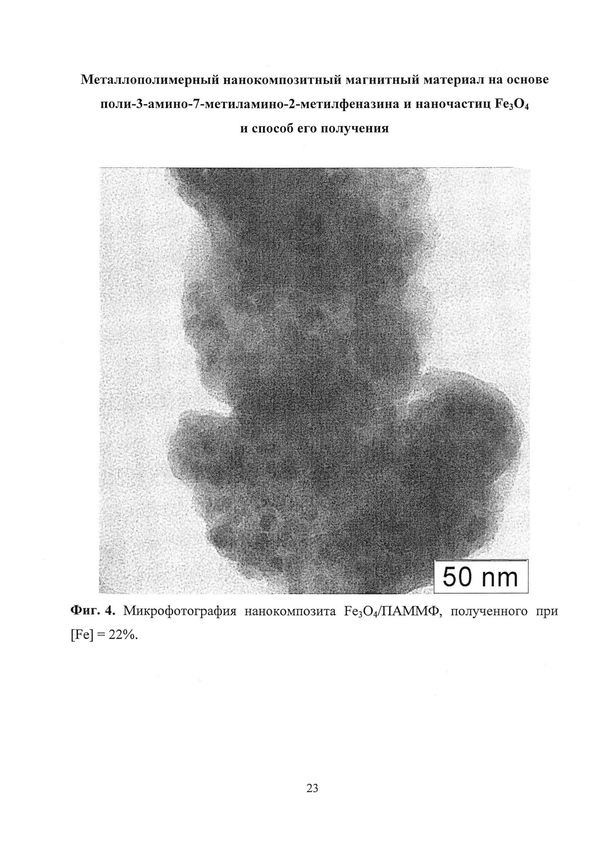 Металлополимерный нанокомпозитный магнитный материал на основе поли-3-амино-7-метиламино-2-метилфеназина и наночастиц FeO и способ его получения