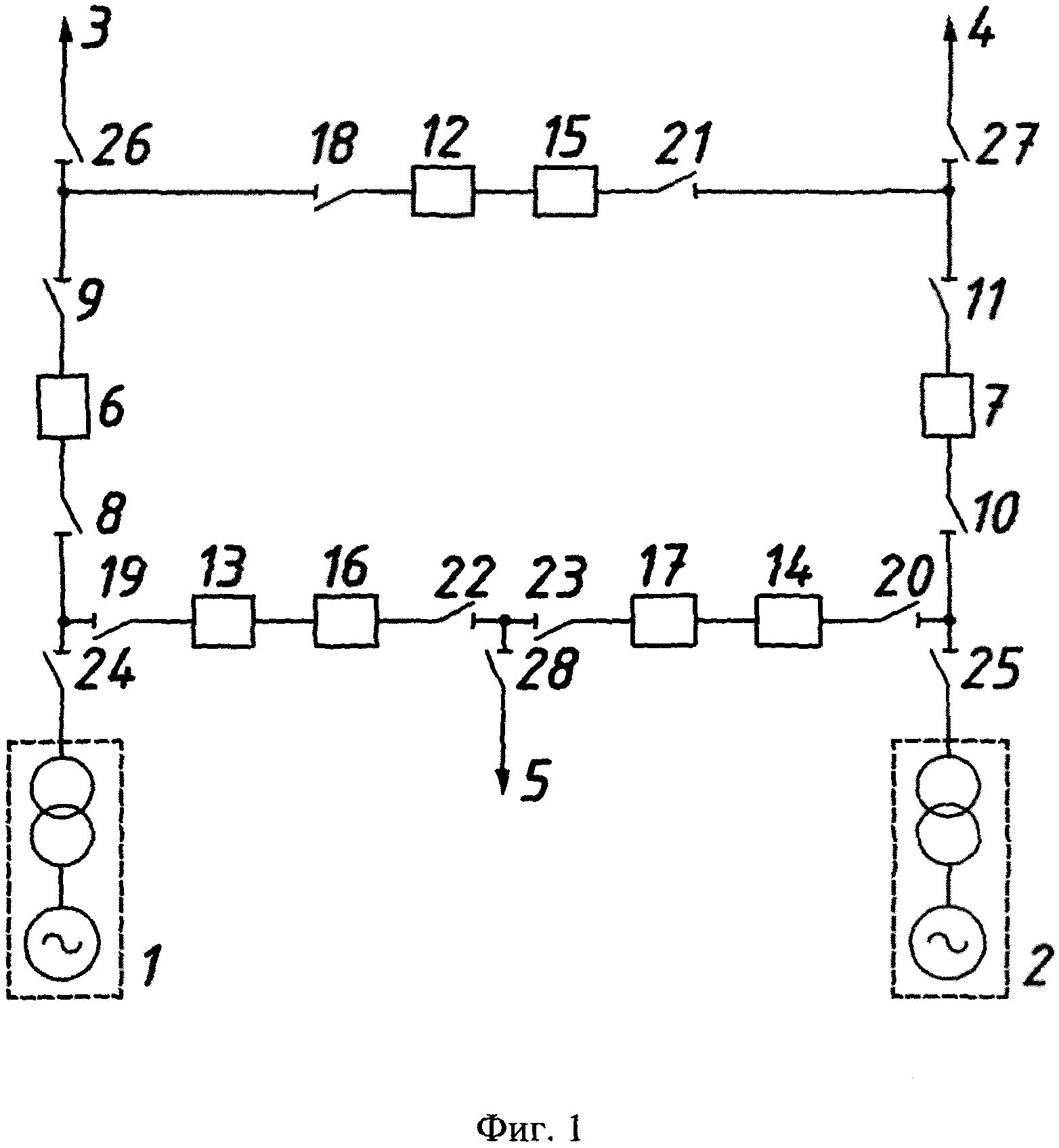 Открытое распределительное устройство электрической станции с двумя блоками генератор-трансформатор и тремя линиями