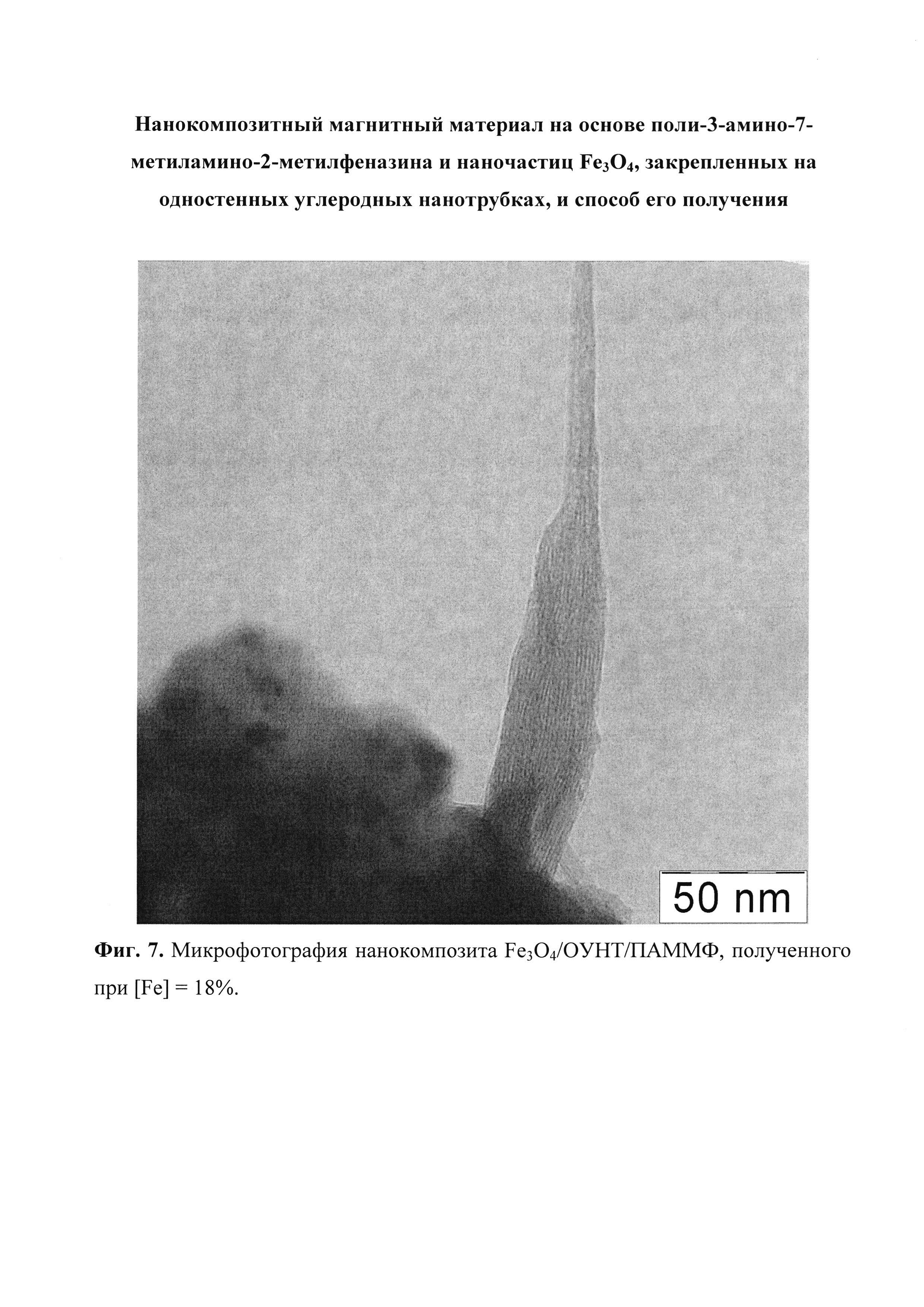 Нанокомпозитный магнитный материал на основе поли-3-амино-7-метиламино-2-метилфеназина и наночастиц FeO, закрепленных на одностенных углеродных нанотрубках, и способ его получения
