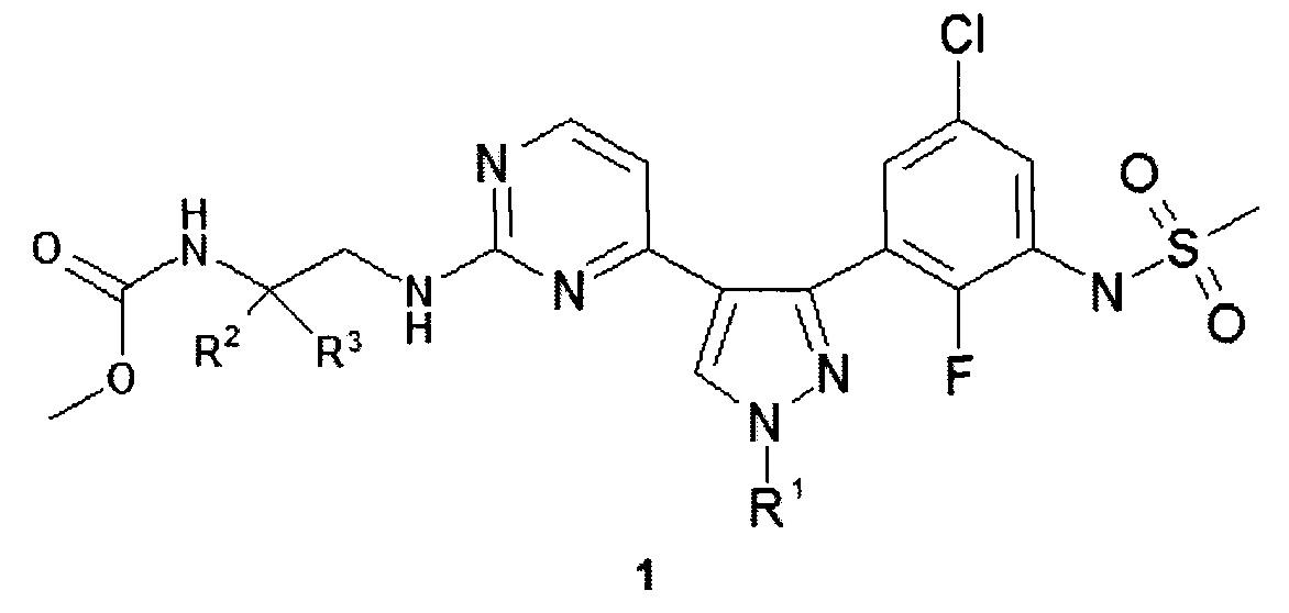 Замещенные метил (2-{ 4-[3-(3-метансульфониламино-2-фтор-5-хлор-фенил)-1н-пиразол-4-ил]пиримидин-2-иламино} -этил)карбаматы, способ их получения и применения