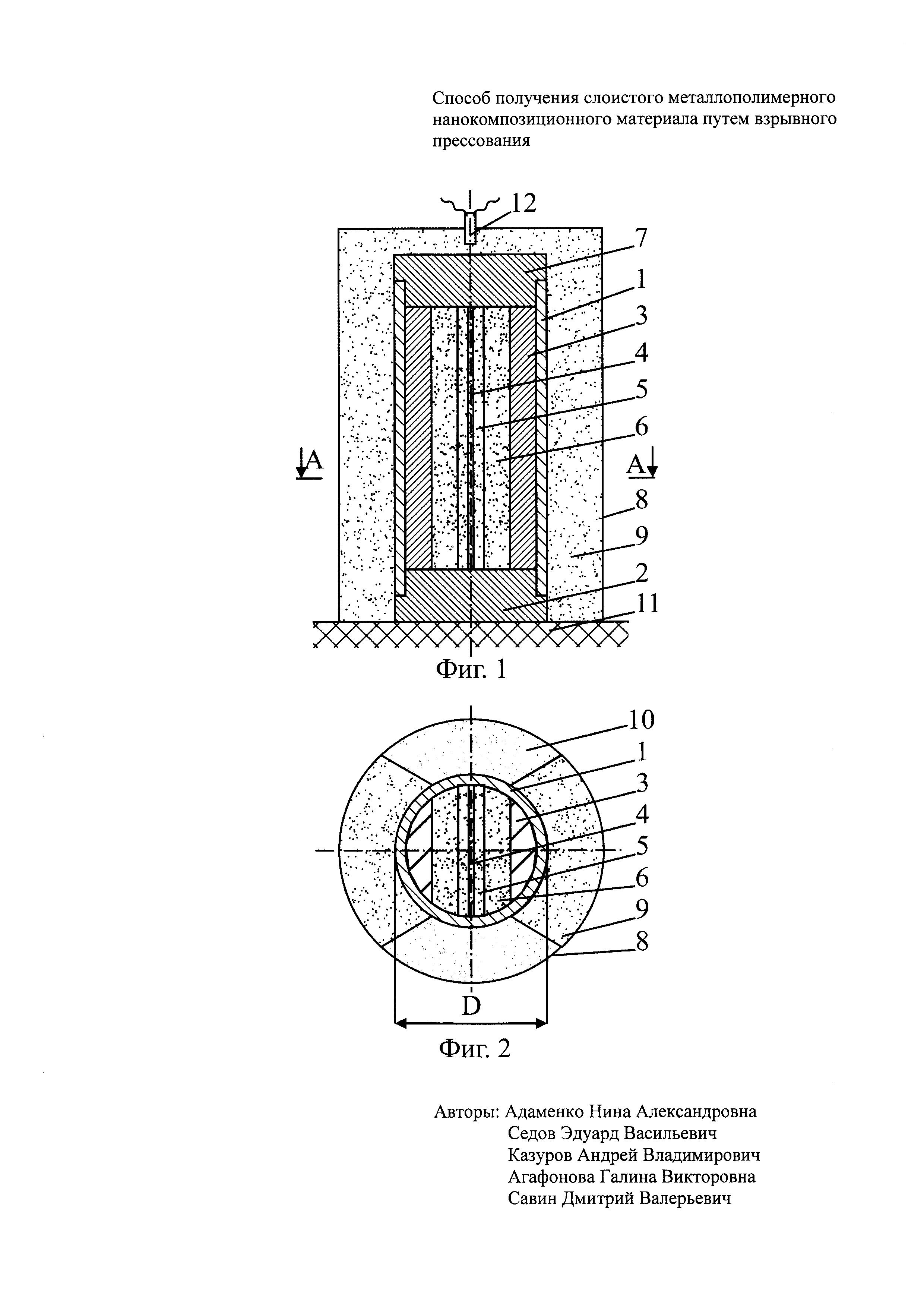 Способ получения слоистого металлополимерного нанокомпозиционного материала путем взрывного прессования