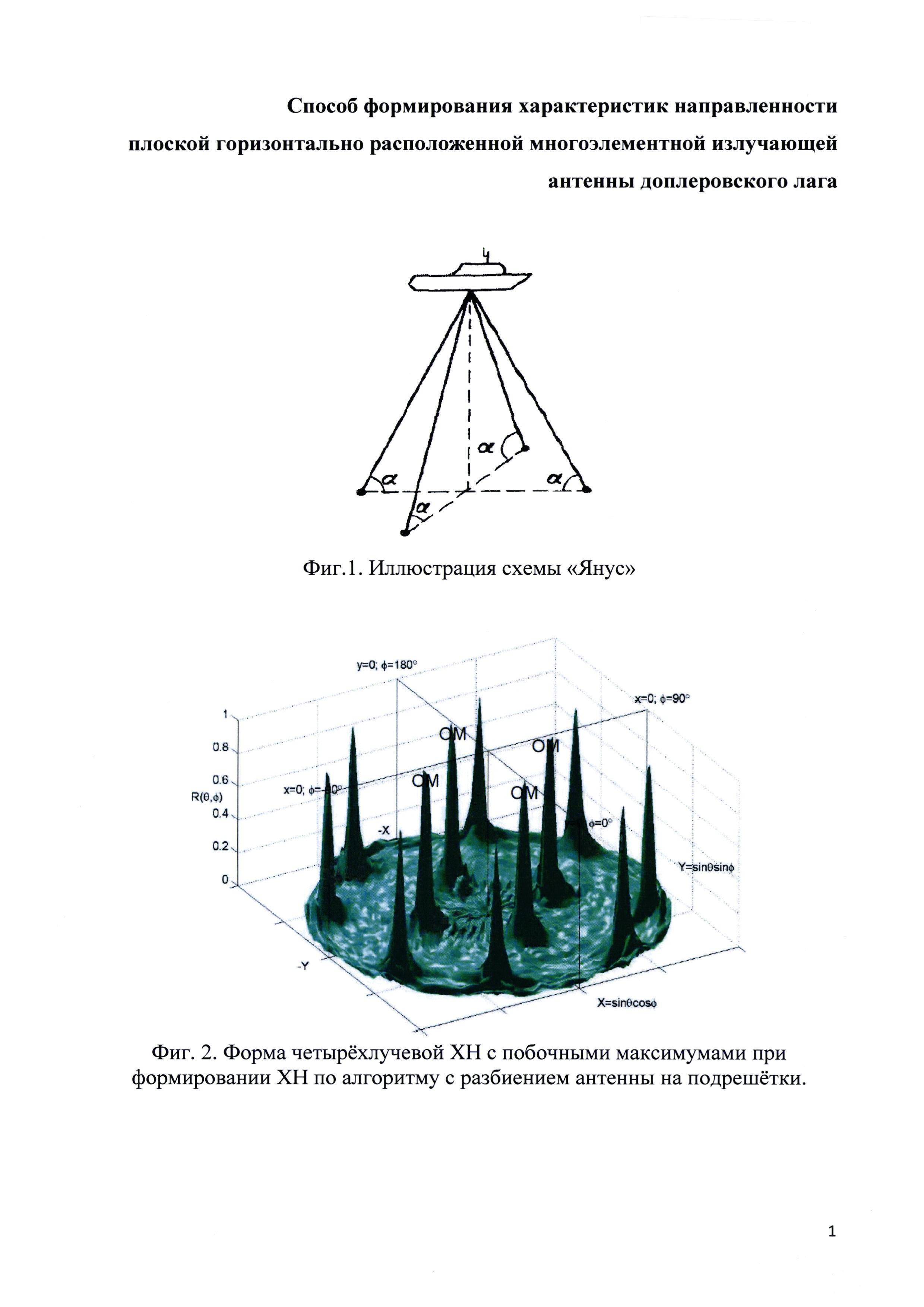 Способ формирования характеристики направленности плоской, горизонтально расположенной многоэлементной излучающей антенны доплеровского лага
